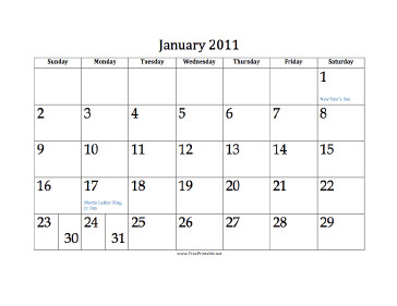 January 2011 Calendar Calendar