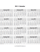 Calendar on one page (vertical grid)